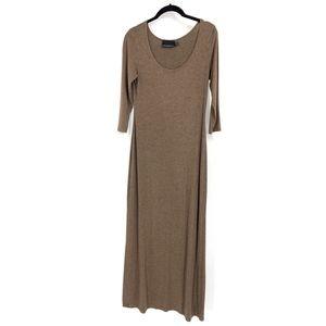 Cynthia Rowley Brown Long Sleeve Solid Maxi Dress